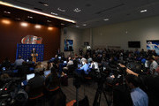 Florida Gators head football coach Dan Mullen speaks during an introductory press conference at the Bill Heavener football complex on November 27, 2017 in Gainesville, Florida.