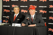 Randy Edsall speaks as he is introduced as the University of Maryland Terps new head football coach as Athletic Director Kevin Anderson (L) of the University of Maryland looks on during a press conference on January 3, 2011 at the Byrd Stadium in College Park, Maryland.