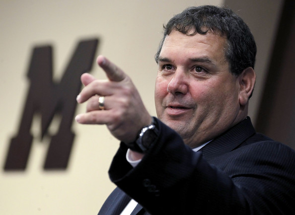 New University of Michigan head football coach Brady Hoke speaks during his introductory press confrence at the Junge Family Champions Center on January 12, 2011 in Ann Arbor, Michigan.