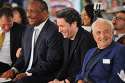 (L-R) Inglewood Mayor James T. Butts Jr., Los Angeles Philharmonic Music & Artistic Director Gustavo Dudamel and architect Frank Gehry share a laugh at the design unveiling of the Judith and Thomas L. Beckmen Yola Center at Inglewood on August 15, 2018 in Inglewood, California.