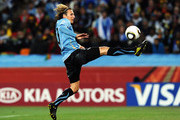 Diego Forlan of Uruguay in action during the 2010 FIFA World Cup South Africa Quarter Final match between Uruguay and Ghana at the Soccer City stadium on July 2, 2010 in Johannesburg, South Africa.