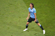 Edinson Cavani of Uruguay celebrates after scoring his team's first goal during the 2018 FIFA World Cup Russia Round of 16 match between 1st Group A and 2nd Group B at Fisht Stadium on June 30, 2018 in Sochi, Russia.