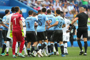 Uruguay and France players clash during the 2018 FIFA World Cup Russia Quarter Final match between Uruguay and France at Nizhny Novgorod Stadium on July 6, 2018 in Nizhny Novgorod, Russia.