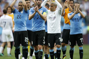 Uruguay players acknowledge the fans following the 2018 FIFA World Cup Russia Quarter Final match between Uruguay and France at Nizhny Novgorod Stadium on July 6, 2018 in Nizhny Novgorod, Russia.