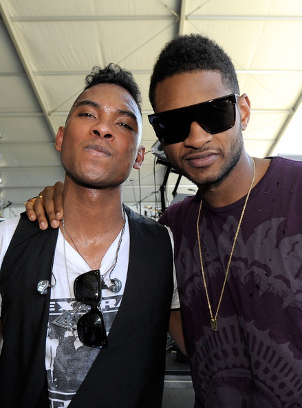 Usher Singers Miguel and Usher pose backstage during Day 1 of the Coachella Valley Music & Arts Festival 2011 held at the Empire Polo Club on April 15, 2011 in Indio, California.