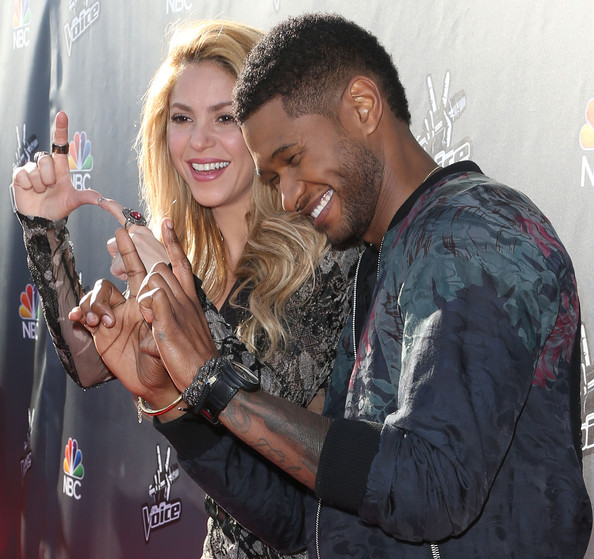 celeb photos usher and shakira attend the voice red