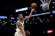 Rodney Hood #5 of the Utah Jazz takes a shot against Tyler Zeller #44 of the Brooklyn Nets in the second quarter during their game at Barclays Center on November 17, 2017 in the Brooklyn borough of New York City .NOTE TO USER: User expressly acknowledges and agrees that, by downloading and or using this photograph, User is consenting to the terms and conditions of the Getty Images License Agreement.