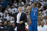 Billy Donovan of the Oklahoma City Thunder yells game instructions against the Utah Jazz during the first half of game 5 of the Western Conference playoffs at the Chesapeake Energy Arena on April 25, 2018 in Oklahoma City, Oklahoma. NOTE TO USER: User expressly acknowledges and agrees that, by downloading and or using this photograph, User is consenting to the terms and conditions of the Getty Images License Agreement.