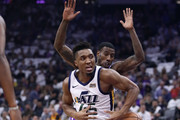 Donovan Mitchell #45 of the Utah Jazz looses control of the ball as he dribbles past Iman Shumpert #9 of the Sacramento Kings at Golden 1 Center on October 17, 2018 in Sacramento, California. NOTE TO USER: User expressly acknowledges and agrees that, by downloading and or using this photograph, User is consenting to the terms and conditions of the Getty Images License Agreement.