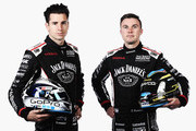 This image was processed using digital filters.) Rick Kelly and David Russell of Nissan Motorsport pose during the 2015 V8 Supercars Enduro pairing portrait session at Sandown International Motor Raceway on September 10, 2015 in Melbourne, Australia.