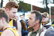 Hawthorn Hawks head coach Alastair Clarkson speaks to Tim O'Brien of the Hawks during the VFL Preliminary Final match between Williamstown and Box Hill at North Port Oval on September 16, 2018 in Melbourne, Australia.