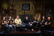 "(L-R) ""That Metal Show"" hosts Jim Florentine, Don Jamieson, Eddie Trunk, director Sacha Gervasi and musicians Steve ""Lips"" Kudlow, Robb ""Geza"" Reiner and Glenn ""G5"" Five of the band Anvil attend the taping of VH1 Classic Presents ""That Metal Show: Anvil Special"" at Hard Rock Cafe, Times Square on September 28, 2009 in New York City."