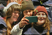 "(L-R) Keri Herman, Maddie Bowman and Devin Logan take a ""selfie"" after being named to the US Olympic Freeskiing Team on day two of the Visa U.S. Freeskiing Grand Prix at Park City Mountain Resort January 18, 2014 in Park City, Utah."