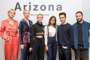 Luisa Hartema, Franziska Knuppe, Kim Hnizdo, Rabea Schif, Fashion designers Lazaro Hernandez and Jack McCollough (L-R) attend the VOGUE Germany & Proenza Schouler  Host Arizona fragrance launch event on April 26, 2018 in Frankfurt am Main, Germany.