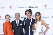 (L-R) Emma Freedman, Neil Perry, Megan Gale and Kate Waterhouse pose during the VRC Melbourne Cup Sponsorship Announcement at Flemington Racecourse on February 13, 2018 in Melbourne, Australia. The VRC  announced global luxury lifestyle brand Lexus as the new Melbourne Cup Principal Partner at Flemington Racecourse.