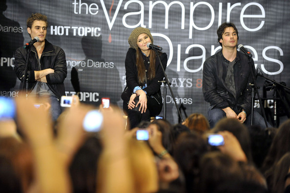 Paul Wesley Paul Wesley, Nina Dubrev and Ian Somerhalder participate in a Q+A at 'The Vampire Diaries' Hot Topic tour at the Westfield Topanga Mall on February 13, 2010 in Canoga Park, California.