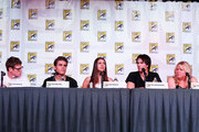 """(L-R) Actors Zach Roerig, Paul Wesley, Nina Dobrev, Ian Somerhalder, and producer Julie Plec speak at """"The Vampire Diaries"""" screening during Comic-Con International 2012 at San Diego Convention Center on July 14, 2012 in San Diego, California."""