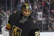 Marc-Andre Fleury #29 of the Vegas Golden Knights smiles after blocking a Vancouver Canucks' shot during a shootout in their game at T-Mobile Arena on October 24, 2018 in Las Vegas, Nevada. The Canucks defeated the Golden Knights 3-2 in a shootout.