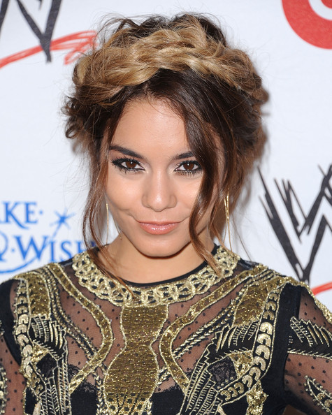 Arrivals at WWE's 'Superstars for Hope' Event [e presents ``superstars for hope,hair,face,hairstyle,eyebrow,lip,beauty,blond,chin,brown hair,eyelash,arrivals,vanessa hudgens,superstars for hope,beverly hills hotel,california,wwe,e entertainment]