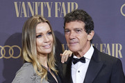 Antonio Banderas and Nicole Kimpel  attend the Vanity Fair awards 2019 at the Royal Theater on November 25, 2019 in Madrid, Spain.