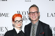 (L-R) Sandy Powell and Christopher Peterson attend Vanity Fair and Lancôme Toast Women in Hollywood on February 06, 2020 in Los Angeles, California.
