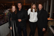 Linda Bruckheimer, Sylvester Stallone, Jennifer Stallone and Jerry Bruckheimer attend the Vanity Fair And NSU Art Museum's Private Dinner Hosted By Bob Colacello And Bonnie Clearwater In Honor Of Douglas S. Cramer at Juvia on December 2, 2015 in Miami Beach, Florida.