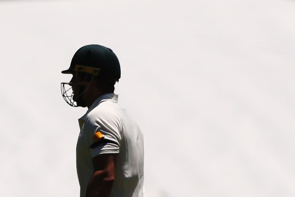 Australia v India  [white,standing,headgear,cap,personal protective equipment,outerwear,photography,sportswear,t-shirt,sports equipment,shane watson,varun aaron,australia,india,adelaide oval,test,test match]