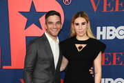 """Evan Jonigkeit and Zosia Mamet attend the """"Veep"""" Season 7 premiere at Alice Tully Hall, Lincoln Center on March 26, 2019 in New York City."""