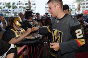 Paul Stastny #26 of the Vegas Golden Knights signs autographs for fans as he arrives at the Vegas Golden Knights Fan Fest at the Downtown Las Vegas Events Center on September 19, 2018 in Las Vegas, Nevada.
