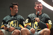 Max Pacioretty (L) #67 and Paul Stastny #26 of the Vegas Golden Knights attend the Vegas Golden Knights Fan Fest at the Downtown Las Vegas Events Center on September 19, 2018 in Las Vegas, Nevada..
