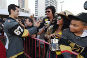 Max Pacioretty #67 of the Vegas Golden Knights greets fans as he arrives at the Vegas Golden Knights Fan Fest at the Downtown Las Vegas Events Center on September 19, 2018 in Las Vegas, Nevada.