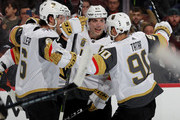 Colin Miller #6,David Perron #47,Tomas Tatar #90 of the Vegas Golden Knights congratulate Erik Haula #56 after he scored in the first period against the Philadelphia Flyers on March 12, 2018 at Wells Fargo Center in Philadelphia, Pennsylvania.
