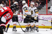 Erik Haula #56 of the Vegas Golden Knights celebrates his third period power-play goal and second goal of the game against the Ottawa Senators with teammate James Neal #18 at Canadian Tire Centre on November 4, 2017 in Ottawa, Ontario, Canada.