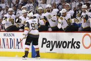 Tomas Tatar #90 of the Vegas Golden Knights is congratulated by his teammates after scoring a first period goal against the Winnipeg Jets in Game Two of the Western Conference Finals during the 2018 NHL Stanley Cup Playoffs at Bell MTS Place on May 14, 2018 in Winnipeg, Canada.