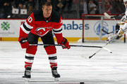 Michael Grabner #40 of the New Jersey Devils warms up prior to taking on the Vegas Golden Knights at the Prudential Center on March 4, 2018 in Newark, New Jersey.