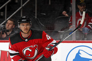 Michael Grabner #40 of the New Jersey Devils in action against the Vegas Golden Knights during the second period at the Prudential Center on March 4, 2018 in Newark, New Jersey.