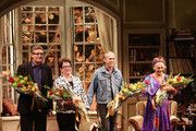 "(L-R) Eric Coble, Molly Smith, Stephen Spinella, and Estelle Parsons take a bow during curtain call at the Broadway opening night for ""The Velocity of Autumn"" at Booth Theatre on April 21, 2014 in New York City."