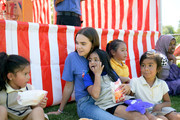 Bailee Madison interacts with kids during Vera Bradley x Blessings In A Backpack event on August 28, 2019 in Nashville, Tennessee.