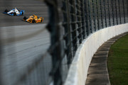 Sage Karam, driver of the #8 Lexar Chevrolet, races Ryan Hunter-Reay, driver of the #28 DHL Honda, during the Verizon IndyCar Series Firestone 600 at Texas Motor Speedway on June 6, 2015 in Fort Worth, Texas.