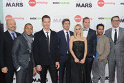 """(L-R) Actors Enrico Colantoni, Percy Daggs III, Jason Dohring, Chris Lowell, Kristen Bell, Ryan Hansen, Francis Capra and Director Rob Thomas attend the """"Veronica Mars"""" screening at AMC Loews Lincoln Square on March 10, 2014 in New York City."""