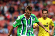 Nicklas Bendtner of Wolfsburg controls the ball during the Emirates Cup match between VfL Wolfsburg and Villareal at the Emirates Stadium on July 25, 2015 in London, England.