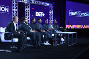Executive producers Jesse Collins and Chris Robinson, actors Luke James, Woody McClain, Elijah Kelly, Algee Smith and Keith Powers of the miniseries 'The New Edition Story' speak onstage during the BET portion ofthe Viacom Winter TCA Panels and Party on January 13, 2017 in Pasadena, California.