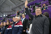 United States Vice President Mike Pence (C), his wife Karen (L) and President of South Korea Moon Jae-in (R) watch short track speed skating at Gangneung Ice Arena on February 10, 2018 in Gangneung, South Korea. Mr Pence is on the final day of a three day visit to South Korea where he watched last night's opening ceremony in close proximity to North Korea's ceremonial head of state Kim Yong-nam and Kim Jong-un's sister, Kim Yo-jong.