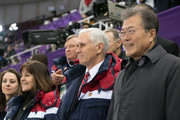 United States Vice President Mike Pence (C), his wife Karen and President of South Korea Moon Jae-in (R) watch short track speed skating at Gangneung Ice Arena on February 10, 2018 in Gangneung, South Korea. Mr Pence is on the final day of a three day visit to South Korea where he watched last night's opening ceremony in close proximity to North Korea's ceremonial head of state Kim Yong-nam and Kim Jong-un's sister, Kim Yo-jong.