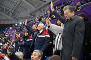 United States Vice President Mike Pence (C), his wife Karen (L), President of South Korea Moon Jae-in (R) and Kim Jung-sook, the wife of President Moon, wave as they watch short track speed skating at Gangneung Ice Arena on February 10, 2018 in Gangneung, South Korea. Mr Pence is on the final day of a three day visit to South Korea where he watched last night's opening ceremony in close proximity to North Korea's ceremonial head of state Kim Yong-nam and Kim Jong-un's sister, Kim Yo-jong.