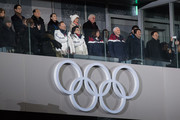United States Vice President Vice President Mike Pence (front row, 2-R) watches the opening ceremony of the PyeongChang Winter Olympics along with Kim Yo-jong, the sister of North Korean leader Kim Jong-Un (back row, 1-L), Kim Yong Nam, North Korea's ceremonial head of state (top row-L), Japanese Prime Minister Shinzo Abe (front row 1-R) and South Korean president Moon Jae-in (front row-L) on February 9, 2018 in PyeongChang, South Korea. Vice President Mike Pence is on day two of a three day visit to South Korea and will lead the U.S delegation in the opening ceremony of PyeongChang Winter Olympics.