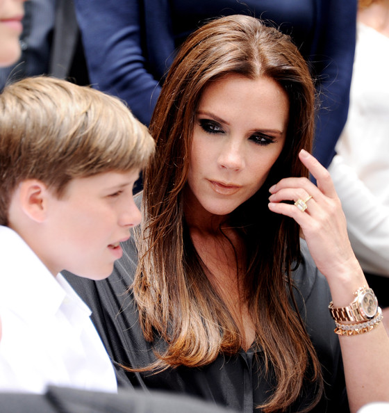 Victoria Beckham Singer Victoria Beckham (R) and her son Brooklyn Beckham appear at Simon Fuller's Hollywood Walk of Fame star presentation ceremony at Hollywood & Vine on May 23, 2011 in Los Angeles, California.