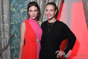 Alexa Chung (L) and Natalia Vodianova attend the Victoria Beckham x YouTube Fashion & Beauty After Party at London Fashion Week hosted by Derek Blasberg and David Beckham, at Marks Club on February 17, 2019 in London, England.