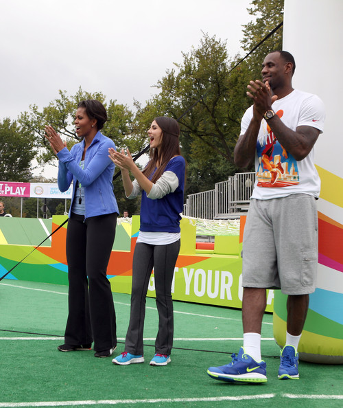 Victoria Justice First Lady Michelle Obama, Victoria Justice and NBA player LeBron James celebrate Nickelodeon's largest ever Worldwide Day of Play at the Ellipse on September 24, 2011 in Washington, DC.