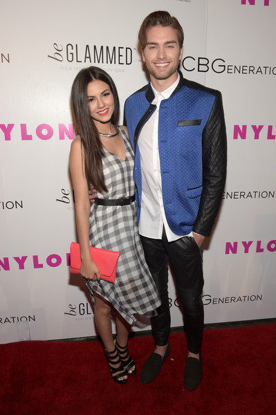 NYLON Young Hollywood Party, Presented By BCBGeneration [fashion,carpet,event,red carpet,suit,premiere,dress,flooring,formal wear,fashion accessory,victoria justice,pierson fode,nylon,west hollywood,california,young hollywood party,bcbgeneration,l,hyde sunset: kitchen cocktails]